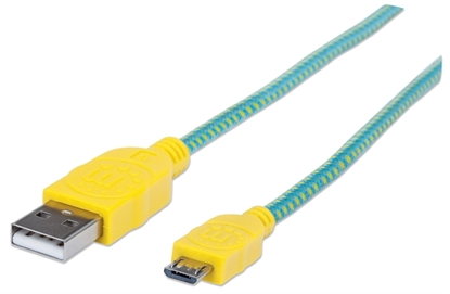 Cable USB V2 A-Micro B, Blister Textil 1.0M Amarillo/Verde