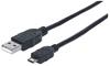 Cable USB V2 A-Micro B, Bolsa PVC 3.0M Negro