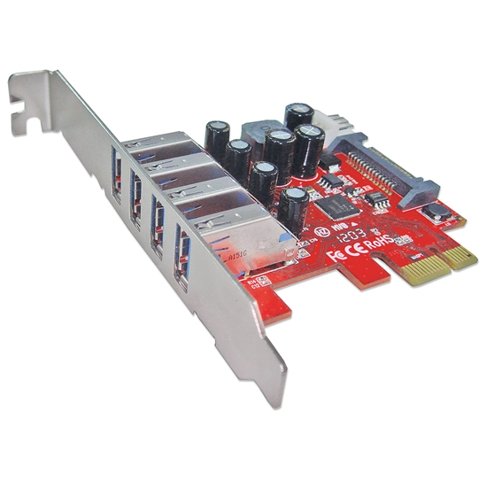 Tarjeta USB V3 PCI Express 4 ptos Corto-Bracket