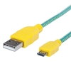 Cable USB V2 A-Micro B, Bolsa Textil 1.0M Amarillo/Verde