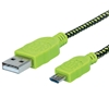 Cable USB V2 A-Micro B, Blister Textil 1.0M Negro/Verde