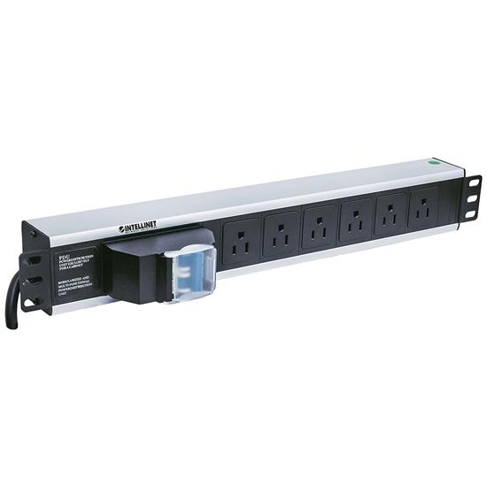 """Barra PDU  6 cont. Gab/Rack 19"""", 1.5U, Contra corto circuito"""