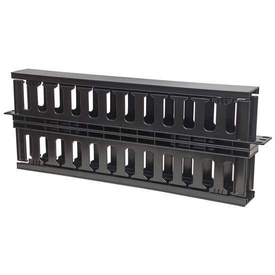 """Organizador Cables 19"""", 1U plastico, doble cara"""
