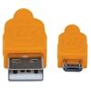 Cable USB V2 A-Micro B, Bolsa Textil 1.8M Naranja/Azul