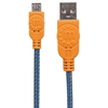 Cable USB V2 A-Micro B, Bolsa Textil 1.0M Naranja/Azul