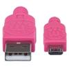 Cable USB V2 A-Micro B, Bolsa Textil 1.8M Rosa/Morado