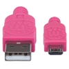Cable USB V2 A-Micro B, Bolsa Textil 1.0M Rosa/Morado