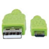 Cable USB V2 A-Micro B, Bolsa Textil 1.0M Verde/Negro