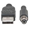 Cable USB A-M Alim. 5.5mm 5V DC  1.0M, Negro