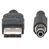 Cable USB A-N Alim. 5.5mm 5V DC  1.0M, Negro