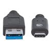 Cable USB-C V3.1, C-A 2.0M Negro