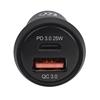Cargador USB p/Auto 2 ptos USB-C, USB-A, 25W Total, Mini